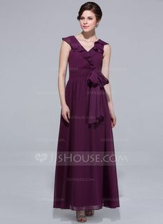 A-Line/Princess V-neck Ankle-Length Chiffon Bridesmaid Dress With Bow(s) Cascading Ruffles (007037191) - JJsHouse