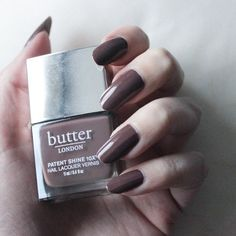 Get Your Best Manicure With A Dark Taupe Nail Polish and A Glossy Shine. The highly pigmented non toxic nail polish applies easily with a Dense Curved Brush. Butter London Royal Appointment, Mani Pedi, Manicure, Butter London Patent Shine, Taupe Nails, Healthy Nails, Appointments, Nail Polish, Makeup