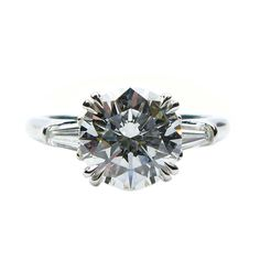 2.34Ct F VS1 Round Brilliant Harry Winston Diamond Ring | From a unique collection of vintage engagement rings at http://www.1stdibs.com/jewelry/rings/engagement-rings/