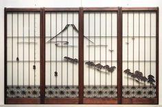 雄大な富士に角麻組子を添えた両面ガラス入り書院セット E5618 在庫1組