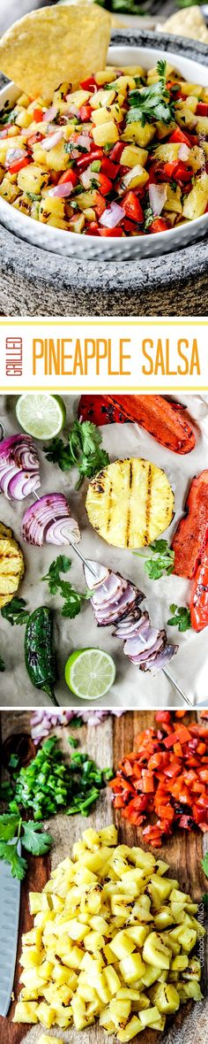 Sweet and smoky Grilled Pineapple salsa with not only grilled pineapple but GRILLED red bell peppers, red onions AND jalapeno! sweet and smoky and possibly the best salsa E-V-E-R alone, with chips, tacos or on fish/chicken. Healthy Snacks, Healthy Eating, Healthy Recipes, Vegetarian Recipes, Good Food, Yummy Food, Tasty, Grilling Recipes, Cooking Recipes