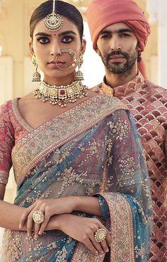Transparent saree sabayachi pink and blue statement necklace