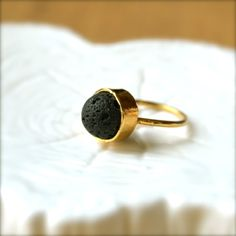 Lava Bead Gold Ring by illuminancejewelry on Etsy, $38.00