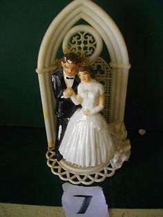 Vintage Wedding cake topper 1950's Ceramic