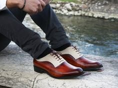 Leather man shoes, wooden and suede, Oxford, hand painted (made in Italy)