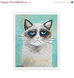 Ragdoll Cat Art Print Kitty Cat Art Feline Art by hjmArtGallery, $16.00