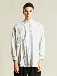 ohji Yamamoto men's Gather Shrunk Shirt from A/W 12 collection in white. 100% cotton. Machine washable.