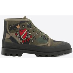 Valentino Garavani Uomo Tattoo Embroidered Camouflage High-top Sneaker ($1,140) ❤ liked on Polyvore featuring men's fashion, men's shoes, men's sneakers, mens round toe shoes, mens camo shoes, mens lightweight running shoes, mens high top shoes and mens black high top shoes
