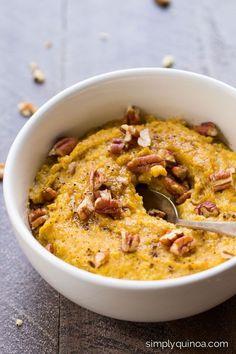 Pumpkin Pie Breakfast Quinoa Recipe - Simply Quinoa - This healthy breakfast quinoa is AMAZING and tastes just like pumpkin pie Breakfast Bowls, Healthy Breakfast Recipes, Pumpkin Breakfast, Breakfast Crepes, Health Breakfast, Breakfast Smoothies, Whole Food Recipes, Vegan Recipes, Cooking Recipes