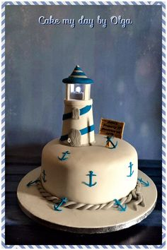 Pensando si puedo hacer un tope asi con un vaso foam... Grandma Birthday, First Birthday Cakes, 5th Birthday, Birthday Parties, Birthday Ideas, Lighthouse Cake, Novelty Cakes, Cake Designs, First Birthdays