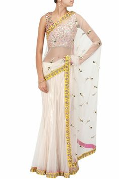 Ercu parrot embroidered sari with multicolour mirror blouse by PAYAL SINGHAL