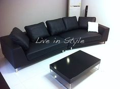 Max6029 - Curved Black Leather Sofa