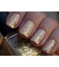 nails ... nude and gold glitter