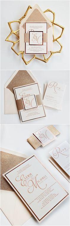 Sample Wedding InvitationRose Gold Foil /& NavySimple Modern Formal Elegant