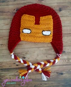 Crochet Ironman Hat by YarnCreationsGalore on Etsy