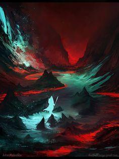 Red Cave, Anton Medvedkov on ArtStation at https://www.artstation.com/artwork/3av2o