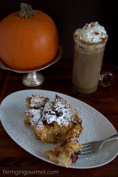 Pumpkin Challah Pudding with Dried Cranberries - Farmgirl Gourmet