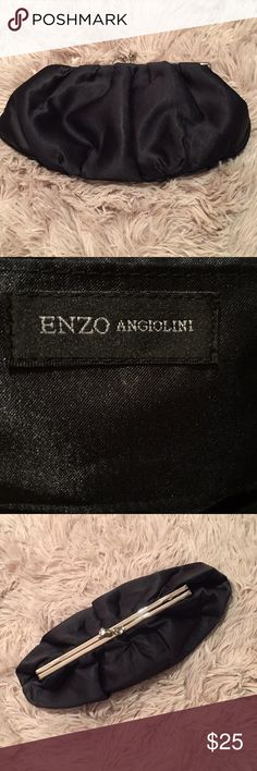 ENZO ANGIOLINI - Black Satin Clutch Handbag Perfect for cocktail parties, weddings, and holiday parties. Holds more that your usual handbag.  Closes at the top with stone clasp. Enzo Angiolini Bags Clutches & Wristlets