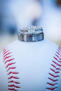 Baseball wedding ring shot