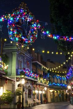 Christmas decorations in a New Orleans Square at Disneyland