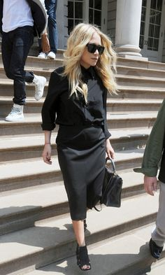 great blackout. MK in head to toe The Row in NYC. #Olsen #MaryKateOlsen #TheRow