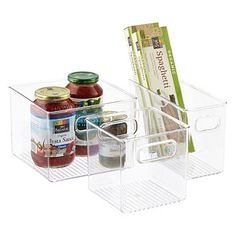 InterDesign Linus Pantry Binz Here are a few more bins we could use in the pantry. The small ones are great for sauce packets and the jumbo size are perfect for bags of snacks, etc. Refrigerator Organization, Pantry Storage, Pantry Organization, Storage Bins, Food Storage, Freezer Storage, Cabinet Storage, Cabinet Organizers, Utensil Storage