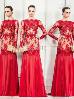 Wholesale Evening Dresses - Buy Sexy Red Sheath Lace 2014 Zuhair Murad Prom Gowns Evening Dresses Long Sleeves Floor Length Formal Pageant D...