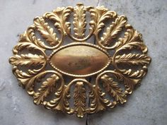 1 Classic Vintage Oval Leaf Design 74mm Brass by StarPower99, $4.20
