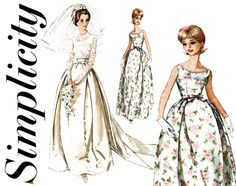 1960s Wedding Dress Pattern Simplicity 5343 Evening Bridal Gown & Train Bridesmaid Cocktail Prom Dress Jacket Womens Vintage Sewing Patterns by CynicalGirl on Etsy