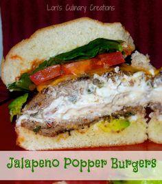 Rockin' Good Jalapeño Popper Burgers on MyRecipeMagic.com. Take grilling to new heights (literally) with this big burger. #jalapeno #popper #burger #grilling