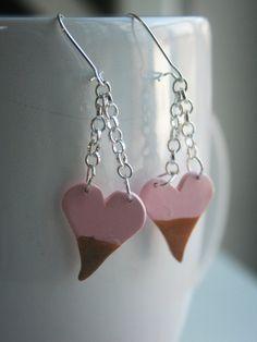 Gold Dipped Heart Earrings Chain Dangle Earrings Pink by claynwire