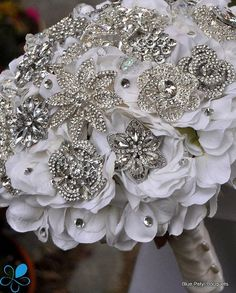 Not a Deposit Crystal Hydrangea Brooch Bouquet by BluePetyl
