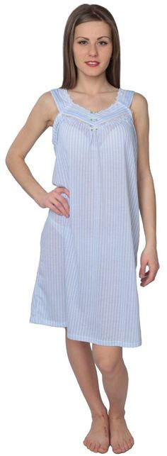 Designed For You Women's Sleeveless Striped Nightgown Sleepshirt Blue L