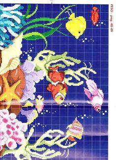 acquario1 Cross Stitch Sea, Cross Stitch Charts, Cross Stitch Patterns, Fish Patterns, Beading Patterns, Sewing Stitches, Knitting Patterns, Cross Stitching, Cross Stitch Embroidery