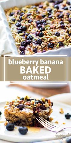 Baked oatmeal healthy - Healthy baked oatmeal sweetened with banana and blueberries SUNKISSEDKITCHEN COM oatmeal baked blueberry banana breakfast glutenfree Breakfast And Brunch, Healthy Oatmeal Breakfast, Healthy Breakfast Recipes, Healthy Baking, Blueberry Breakfast, Baked Blueberry Oatmeal, Healthy Foods, Baked Banana, Banana Oatmeal Bake