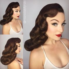Vintage Hairstyles For Long Hair Wedding Pin Up 18 Ideas Pelo Vintage, Moda Vintage, Style Vintage, Vintage Waves, Wedding Hair And Makeup, Bridal Hair, Hair Makeup, 50s Makeup, Hair Wedding