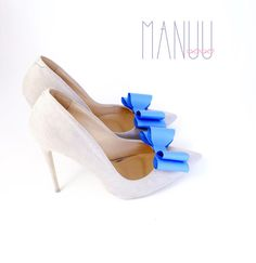 Blue shoe bows shoe clips Manuu Wedding shoe clips Bridal