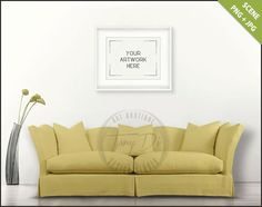 Living Room | Styled Sofa Interior | 8x10 16x20 White Landscape Frame | Modern Yellow Sofa | Flowers| Empty wall | Styled stock mockup