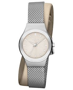 DKNY Watch, Women's Stainless Steel Mesh and Nude Leather Double Wrap Strap 28mm NY8799 - All Watches - Jewelry & Watches - Macy's