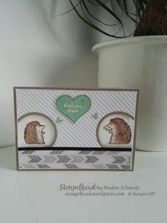 """Stampin Up! Zweite Karte mit Love You Lots in Minzmakrone und Taupe und dem Designerpapier """"einfach tierisch"""""""