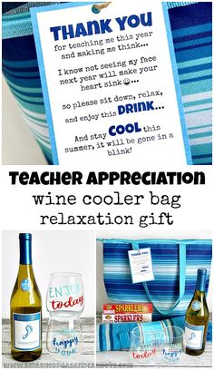 Love this cute Teacher Appreciation printable for the last day of school. Pair with wine, cooler bag, and other relaxation gifts! Wine Presents, Wine Gifts, Daycare Gifts, School Gifts, Best Teacher Gifts, Handmade Teacher Gifts, Teacher Birthday, Birthday Ideas, Teacher Appreciation Week