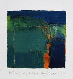 Mar. 2, 2013 - Original Abstract Oil Painting - 9x9 painting (9 x 9 cm - app. 4 x 4 inch) with 8 x 10 inch mat. $60.00, via Etsy.