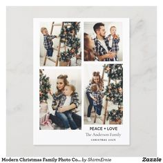 Holiday Postcard Merry Christmas Family, Modern Christmas, Family Photo Collages, Family Photos, Holiday Postcards, Holiday Cards, Photo Magnets, Zazzle Invitations, Party Hats