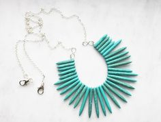 Handmade Statement Necklace, Bib Necklace, Turquoise Spike Necklace, Long Beaded Necklace, Warrior Necklace, Bohemian Jewelry