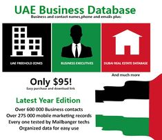 The UAE Business list is a database of information with emails, names and includes Dubai and Abu Dhabi and Freezone regions. Business Contact, Business Emails, Mobile Marketing, Marketing And Advertising, K Names, Contact Names, Dubai Real Estate, Email List, Uae