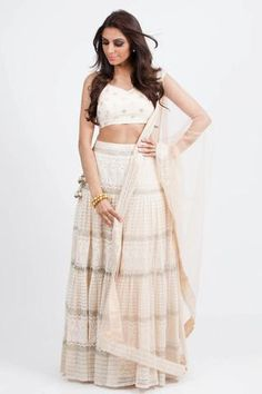 Cream lace lengha set with delicate sequin embroidery throughout. Sheer net dupatta with sequin trim complete the look. Skirt length 44 Included in your purchas Indian Attire, Indian Outfits, Indian Wear, Ethnic Fashion, Asian Fashion, Teal Blouse, Green Blouse, Gold Lehenga, Sari Dress