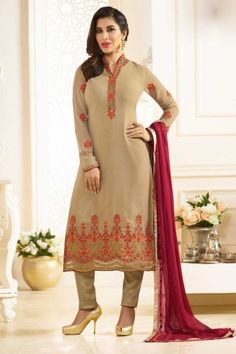 Bollywood Sophie Choudry Beige Georgette Trouser Suit With Dupatta - DMV15354