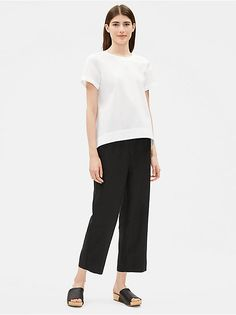 Shop our collection of womens tops and tees for an effortlessly casual look. Available in silk, organic linen, and organic cotton. Find your perfect top. Interview Shoes, Eileen Fisher, Cotton Shorts, Casual Looks, Tees, Shirts, Organic Cotton, Short Sleeves, Normcore