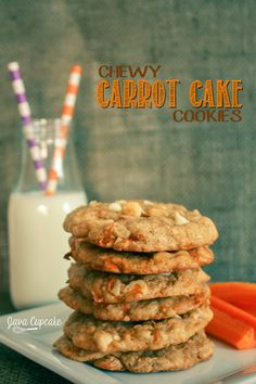 Chewy Carrot Cake Cookies | can use #earthbalance vegan butter, will probably use semi-sweet chips instead!