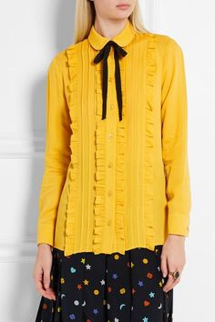 Mustard silk Button fastenings through front 100% silk; trim: 50% cotton, 50% viscose Dry clean Made in Italy